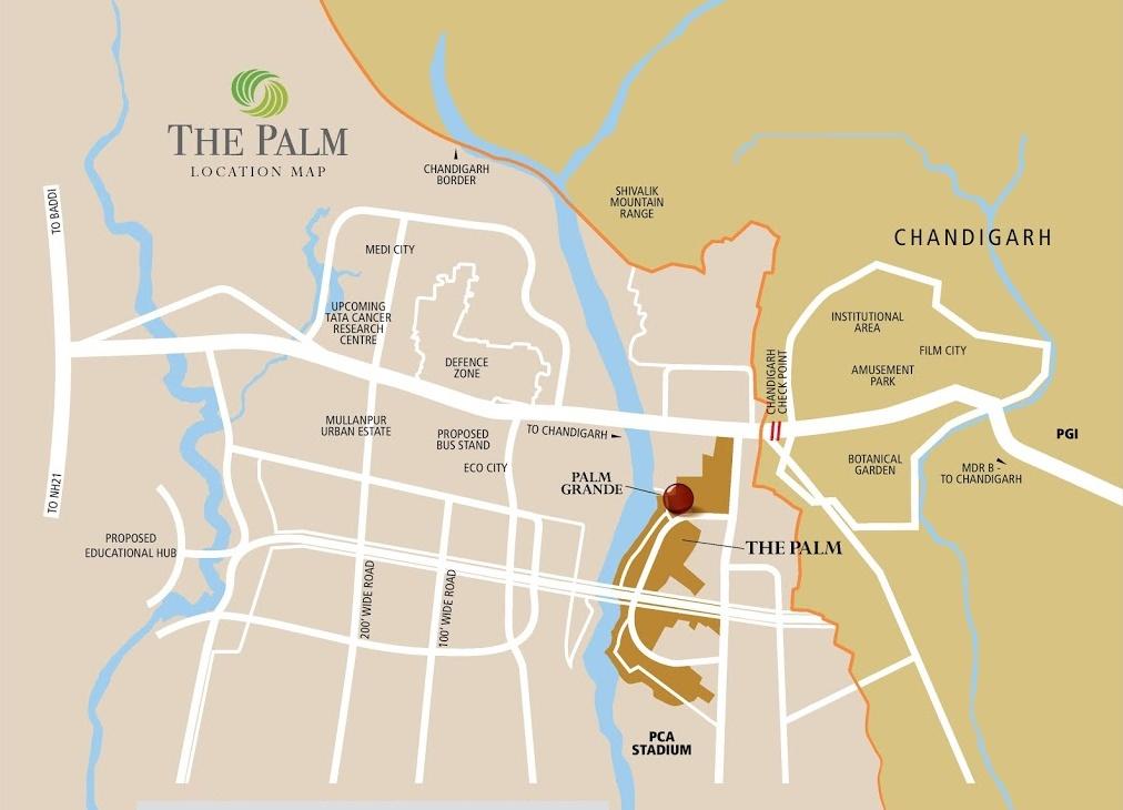 palm grande new chandigarh location map